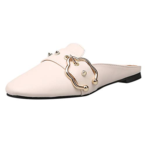 Tantisy ♣↭♣ Women's Studded Penny Loafers Slip On Flats Comfort Driving Office Loafer Shoes Fashion Trim Deco Slippers White