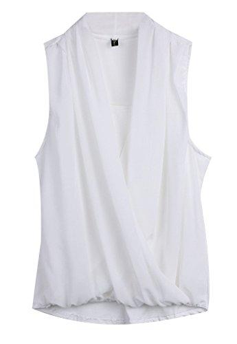 Shirt Minetom Donne Maniche Senza Moda Cime Sexy Estate T Bianco Camicetta Chiffon Vest qPUqH