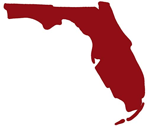 Floridian Red Vinyl - hBARSCI Florida State Vinyl Decal - 5 Inches - for Cars, Trucks, Windows, Laptops, Tablets, Outdoor-Grade 2.5mil Thick Vinyl - Dark Red