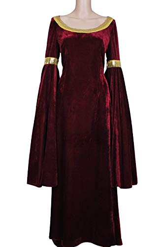 The Lord of The Rings Cosplay Arwen Costume Red Dress Velvet Long Party Girls M ()