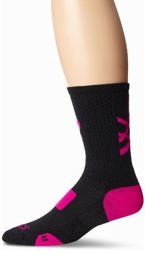 ASICS Team Tiger Crew Socks, Black/Pink Glo, Small
