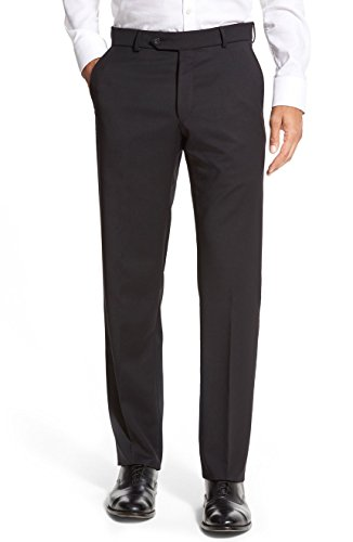 Ballin Men's Soho Modern Fit Super 120's Wool Dress Pants - Black - 36