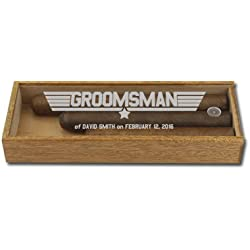 Custom Three Cigar Acrylic Groomsman Gift Box, Groomsmen Top Gun