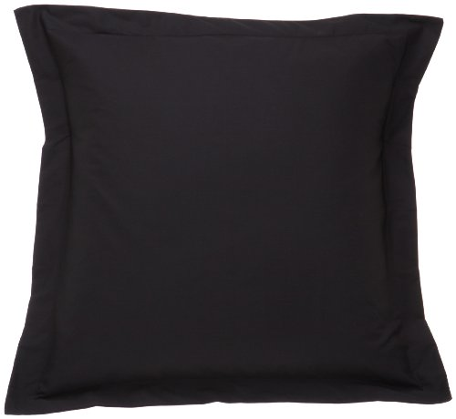 Fresh Ideas Tailored Poplin Pillow Shams – Gorgeous Decorative Bed Pillowcover – Black, European, 1 PC (26 x 26 Inches) - European Square Pillow Shams