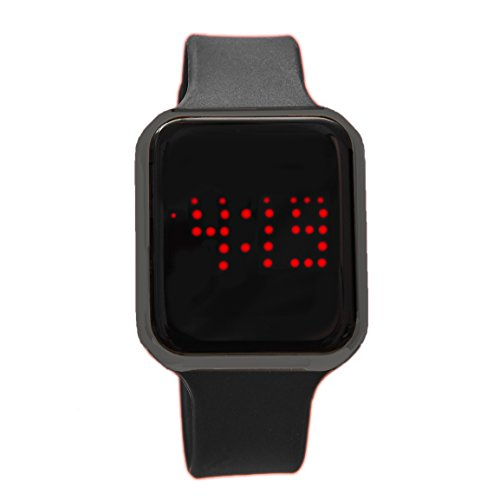 Charles Raymond Unisex Rubber Band Smart Touch Screen LED Watch 3 ATM Water Resistant - 8231 Black/Gunmetal
