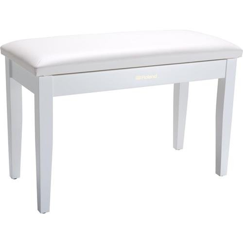 Roland Duet Piano Bench with Cushioned Vinyl Seat and Storage Compartment, Satin White