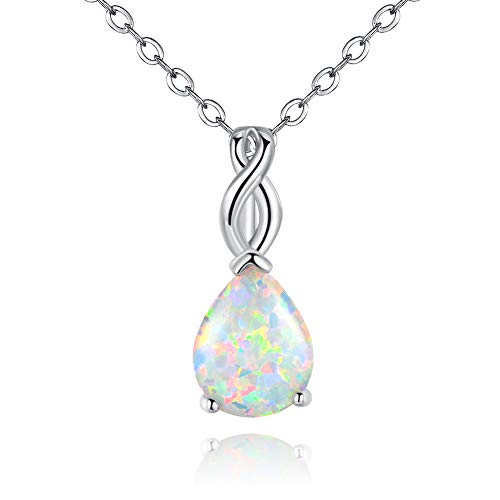 Gold Plated Opal Necklace - VOLUKA Opal Necklace for Women, 18K White Gold Plated Teardrop Pendant October Birthstone Jewelry for Women (White)