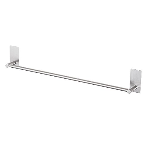 - LuckIn Self Adhesive Towel Rod 24 Inch Towel Bar Stainless Steel, Stick on Wall Bath Towel Holder,No Drilling Rail Rack for Kitchen and Bathroom, Brushed Finish