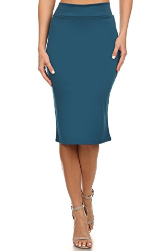 Women's Below The Knee Pencil Skirt for Office Wear - Made in USA (Size Small, Teal)