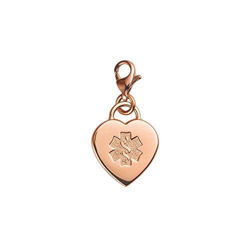 Divoti Deep Custom Laser Engraved Adorable Heart PVD 316L Medical Alert Charm w/Lobster Clasp-Rose - Id Medical Charms Engravable