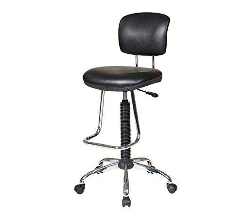 Оfficе Stаr Pneumatic Drafting Chair with Casters and Chrome Teardrop Footrest, Vinyl Stool and Back