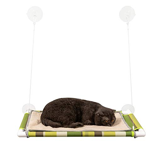 Selify Cat Window Perch with Removable Plush Mat and Big Suction Cups, Holds up to 60lbs for Bigger or Multiple Cats, Food Grade Placemat Mesh Cover