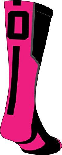 TCK Player Id Black/Neon Pink Number Crew Sock (#0 - Single Sock, (Breast Cancer Awareness Football Socks)