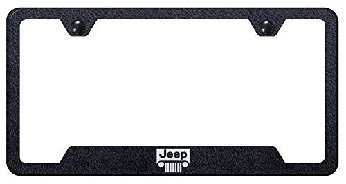 (Automotive Gold Laser Etched Textured Black Jeep Grill Cut-Out Frame)