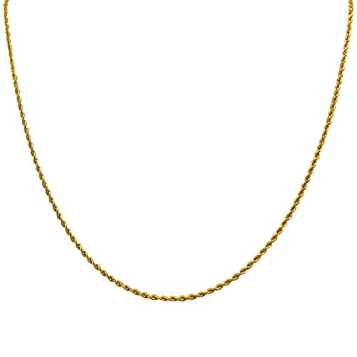 1mm thick 14k gold plated on solid sterling silver 925 Italian ROPE chain necklace bracelet anklet with lobster claw clasp - 15, 20, 25, 30, 35, 40, 45, 50, 55, (Gold Italian Rope)