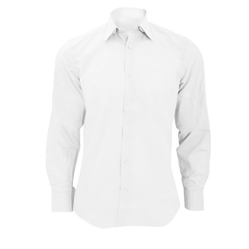 - Russell Collection Mens Long Sleeve Poly-Cotton Easy Care Tailored Poplin Shirt (XL) (White)