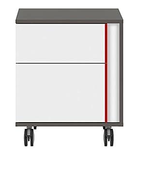 BlackRedWhite Gráfico Dos cajón Pedestal para archivadores Colgantes para Armario hogar y Oficina Muebles tungsteno Cuerpo Gris y Blanco frentes con Rojo o ...