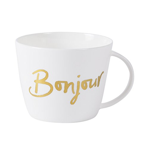 CHOOLD Gold Bonjour Ceramic Coffee Mug Soup Mug Jumbo Mug Morning Mug with Handle Valentine Gift 17oz