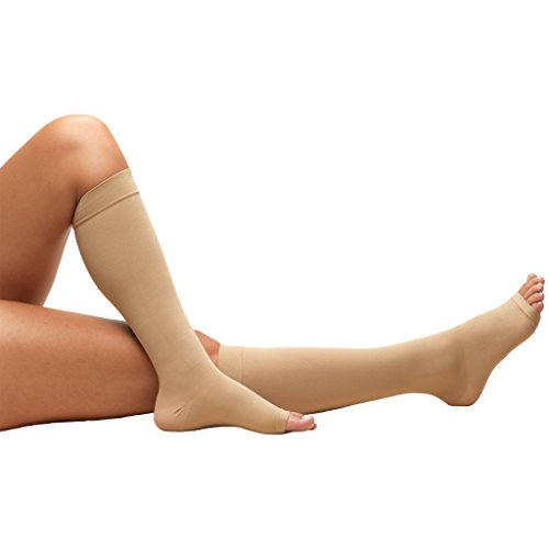 Truform Open Toe, Knee High, 18mmHg Anti-Embolism Stockings, Beige, X-Large, Short - Toe Open Stockings Support Knee