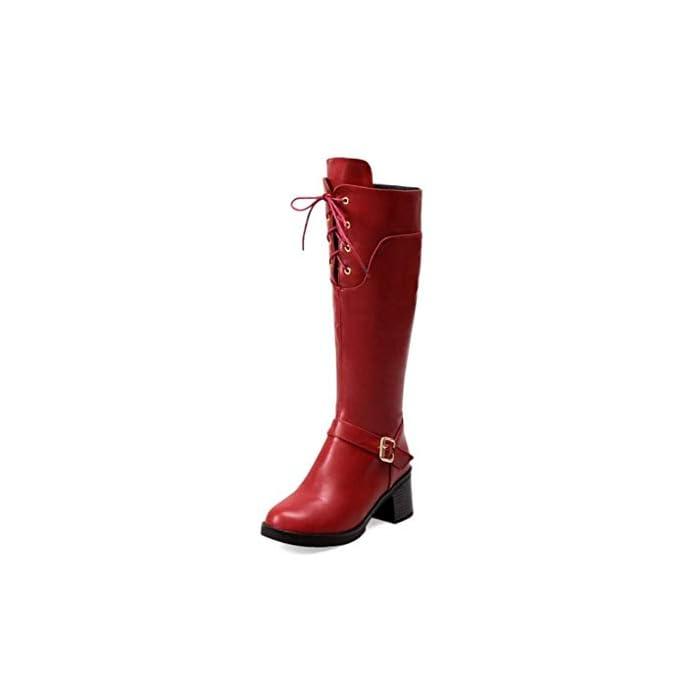 Haoliequan Stivali Da Donna Con Tacco Alto In Pelle Scarpe Lacci Lunghi Invernali Alti Punk Vintage Taglia 34-43