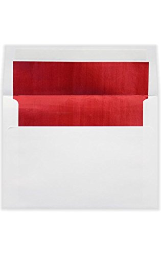 A6 Foil Lined Invitation Envelopes w/Peel & Press (4 3/4 x 6 1/2) - White w/Red LUX Lining (50 Qty.) |Perfect for Invitations, Announcements, Sending Cards | 70lb. Paper | FLWH4875-01-50