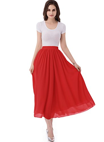emondora Women's Chiffon Long A-line Retro Skirts Pleated Beach Maxi Skirt Red Size L