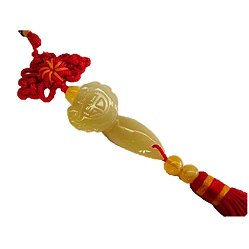 Allbest2you Chinese Yellow Jade Ruyi Charm Feng Shui Money Wishful Wealth Carving Pendant