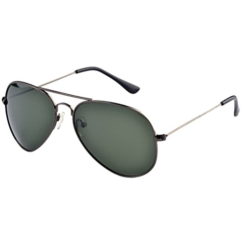 Femmes Lunettes Soleil de UV Vert Cadre Polarisées Sunglasses Plage Eyewear Voyage LINNUO Aviateur Foncé Gris Protection Métal Hommes Cadre Lentille Ixnd8IRw