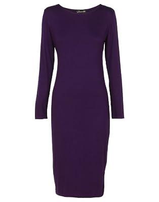 Candy Girl Clothing - Women's Long Sleeve Scoop Neck Midi Dress (ML, Purple)