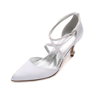 Wedding CN39 Dress Shoes Party Flat Bowknot Champagne Wedding Women'S Rhinestone EU39 Blue Spring Comfort Ruby Heelivory Evening Summer amp;Amp; UK6 US8 Satin d1WgxFw
