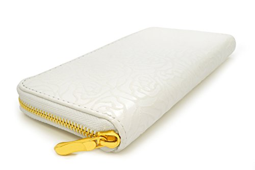 Embossed Clutch Wallet (Women's Rosebud Embossed Zip Clutch Hand Wallet in White, One)