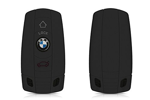 [2 Pack] EX1 Silicone Protective Car Key Cover Skin for BMW (Black)