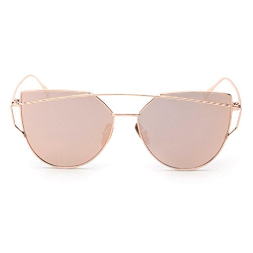 QingFan Fashion Round Vintage Cat Eye Mirrored Metal Frame Women Sunglasses(rose gold, - Sunglass Cheap