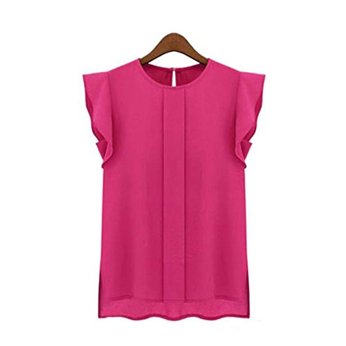 Han Shi Chiffon Blouse, Clearance Women Fashion Casual Loose Short Tulip Sleeve Shirts (Hot Pink, S)