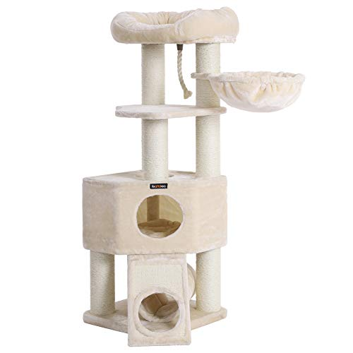 FEANDREA Cat Tree, Large Cat Tower with Fluffy Plush Perch, Cat Condo with Basket Lounger and Cuddle Cave, Extra Thick Posts Completely Wrapped in White Sisal, Beige -