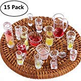 Genenic 15Pcs 1:12 Plate Cup Dish Bowl Tableware Set Dollhouse Miniature Toy Doll Food Kitchen Living Room Accessories