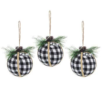 3 pack buffalo plaid black white christmas ornaments shatter proof - Plaid Christmas Ornaments