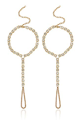 2 Pcs Rhinestone Foot Chain Beach Barefoot Sandal Fashion Wedding Jewelry, - Gold Feet