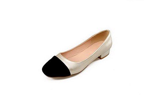 AllhqFashion Damen Blend-Materialien Quadratisch Zehe Niedriger Absatz Pumps Schuhe Golden