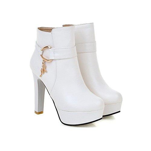 AllhqFashion Damen PU Leder Hoher Absatz Reißverschluss Stiefel Weiß