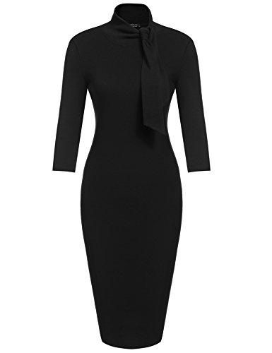 ACEVOG Women's Bow Turtleneck Solid Bodycon Evening Party Pencil Dress (Black On Black Suit)