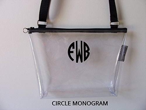 Clear Vinyl Stadium Crossbody Zipper Bag with Adjustable Strap Custom Made USA 10''x7''x2'' by B Hip Bags