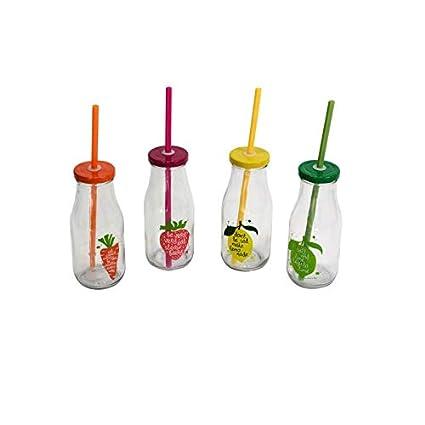 Vilys House Botella de Cristal con Tapa y Pajita de sorber (Conjunto de 4 Unidades
