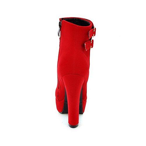 AllhqFashion Damen Mattglasbirne Reißverschluss Niedrig-Spitze Nubukleder Stiefel Rot
