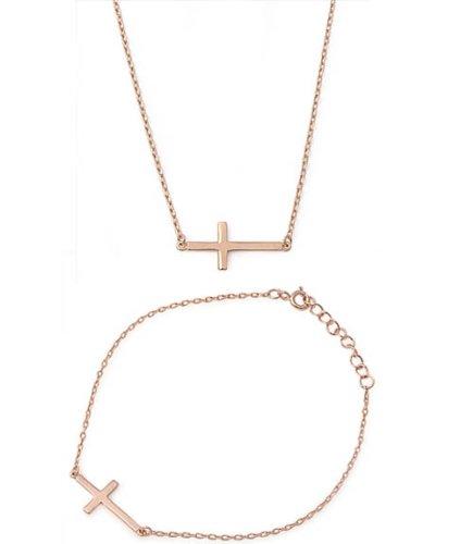 22mm Designer (Horizontal) Sideways Holy Cross 18K-ROSE GOLD PLATED .925 (18k Italian Cross)