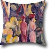 - 16 X 16 Inches / 40 By 40 Cm Oil Painting August Macke - Couple On The Forest Track Cushion Covers ,two Sides Ornament And Gift To Boys,chair,couples,teens Girls,deck Chair,him