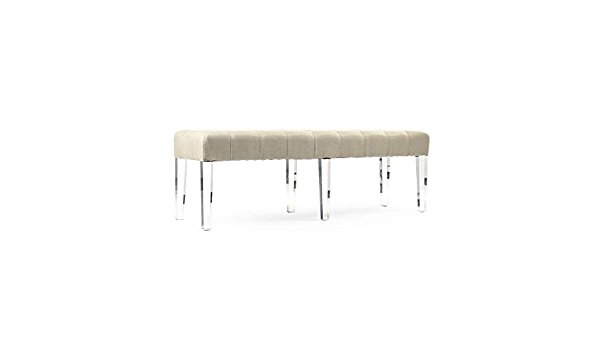 Zentique Meline Bench Natural Linen Table Benches