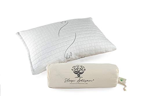 Sleep Artisan Latex Pillow Standard Size Adjustable Bed Pillows With Washable Cover (1) Made in The USA