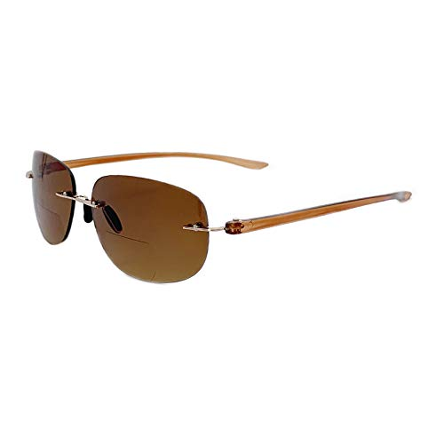 HUYAOPT Nearly Invisible Line Bifocal Reader Sun Glasses Sport & Rimless Frame for Women&Men (Brown, 1.50 X)