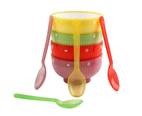 DEALPICK Plastic Classic Bowls Spoons Set, 4 Bowls and 4 Spoon, Trans Bowl Set   Multi